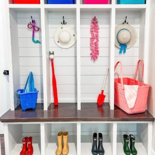 Nothing says 'Goodbye Winter blues. Hello Spring and Summer!' like a few fun pops of color! For just a few dollars at a dollar store, we gave these built-ins the practicality of storage solutions that can contain items you don't need to see everyday, while hinting at the fun of summer days ahead.